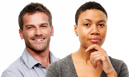 Black woman with short hair and a white man